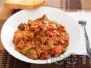 Рецепта Пържени чушки с бамя в доматен сос от консерва